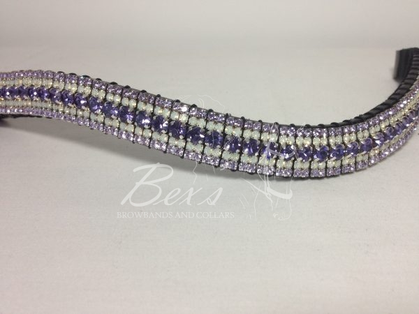 """Curved 3/4"""" Preciosa Crystal Browband: Deep Tanzanite 6mm, Opal 3mm and Violet 3mm."""