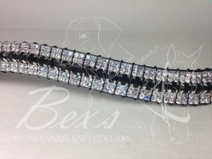 "Curved 3/4"" Preciosa Crystal Browband: Jet 6mm, Vitrail Light 3mm and Vitrail Light 3mm."