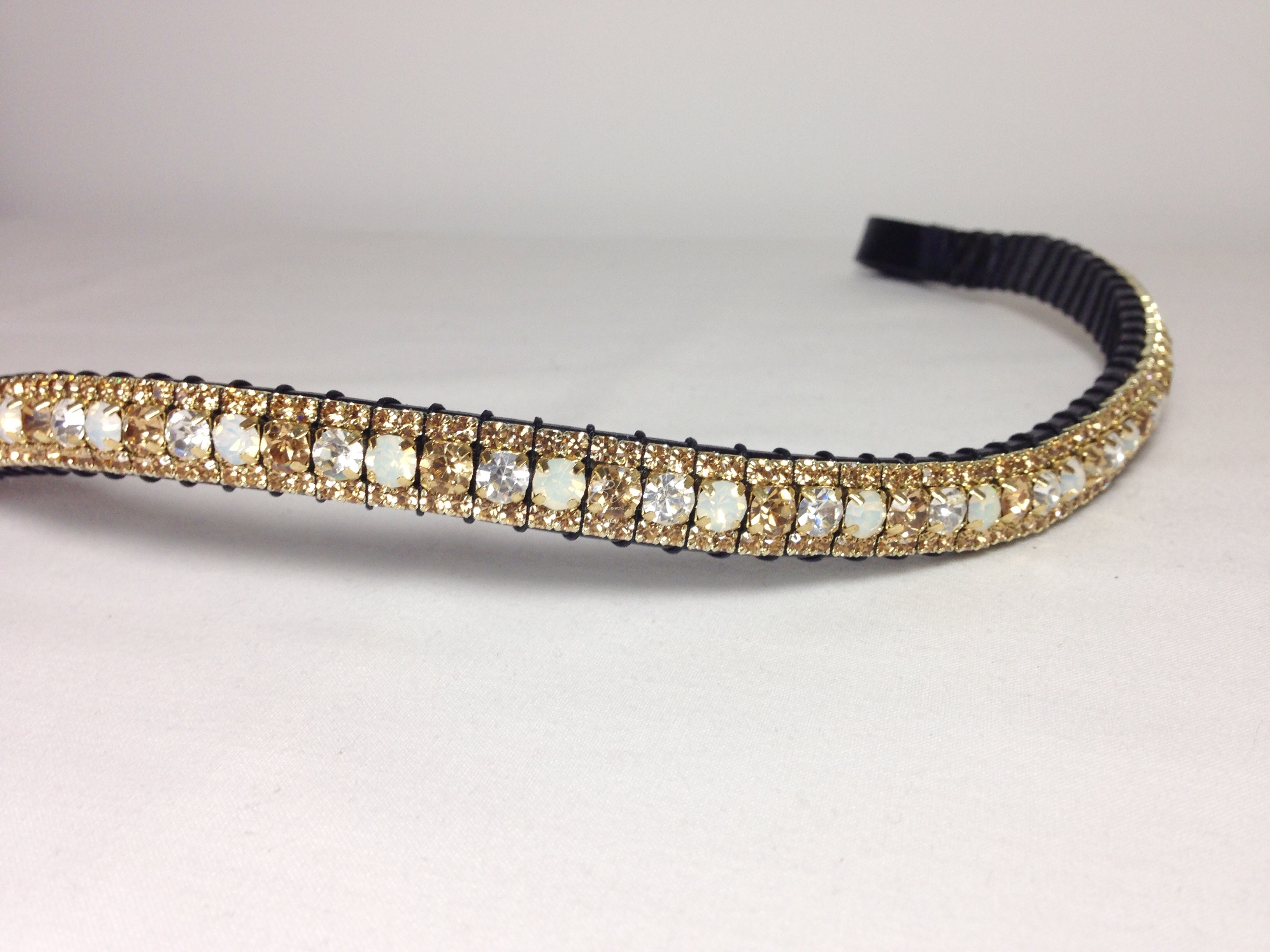 "Curved 1/2"" Preciosa Crystal Browband: Opal/Pearl/Light Colorado Topaz 6mm, and Light Colorado Topaz 3mm."