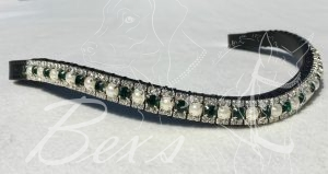 "Curved 1/2"" Preciosa Crystal Browband: Emerald/Pearl (Silver casing) 6mm and Clear (Silver casing) 3mm."