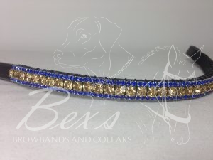 "Straight 1/2"" Preciosa Crystal Browband: Light Colorado Topaz 6mm, and Sapphire 3mm."