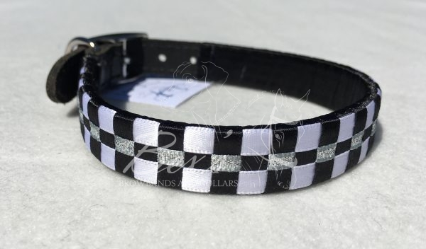Ribbon Leather Dog Collar: Black and White satin with Silver metallic lame 3 row Checkered pattern