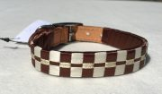Ribbon Leather Dog Collar: Chocolate Brown and Cream satin with Gold metallic lame 3 row Checkered pattern