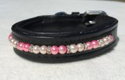 Beaded Dog Collar: Light Pink and Hot Pink pearls with Silver shaped rhinestone spacers
