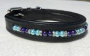 Beaded Dog Collar: Cobalt Blue and Aqua pearls with Silver shaped rhinestone spacers