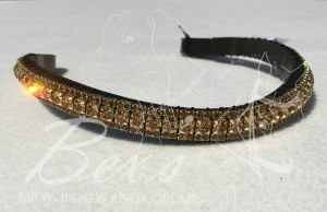 "Curved 1/2"" Preciosa Crystal Browband: Light Colorado Topaz 6mm and Smoked Topaz 3mm."