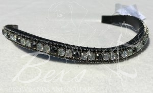 "Curved 1/2"" Preciosa Crystal Browband: Vitrail Light/Jet 6mm and Jet 3mm."