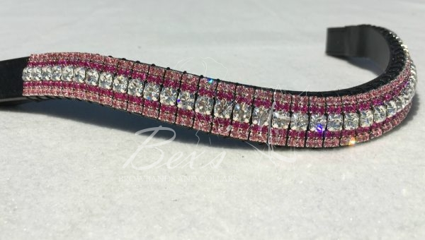 "Curved 3/4"" Preciosa Crystal Browband: Clear (Silver casing) 6mm, Fuchsia 3mm and Light Rose 3mm."