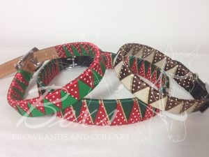 Christmas Collars Left: Emerald satin and Red/White polka dot satin shark tooth Middle: Hunter/Gold metallic edge satin and Red/White polka dot satin shark tooth Right: Cream/Gold metallic edge satin and Brown/White polka dot satin shark tooth