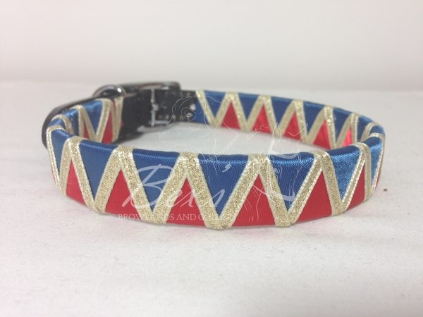 Ribbon Leather Dog Collar: Light Navy and Red satin with Gold metallic lame shark tooth zig zag