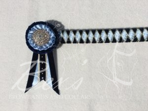 "3/4"" Ribbon Show Browband: Navy velvet, Cornflower/White polka dot satin and Gold cord wide diamond outline. Pleated rosettes with plain Gold centres. Swallowtail rosette tails. Small extra crystals along the rosette tails"
