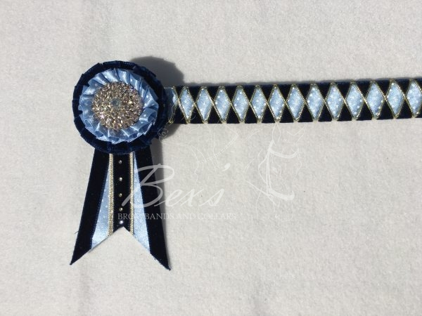 """3/4"""" Ribbon Show Browband: Navy velvet, Cornflower/White polka dot satin and Gold cord wide diamond outline. Pleated rosettes with plain Gold centres. Swallowtail rosette tails. Small extra crystals along the rosette tails"""