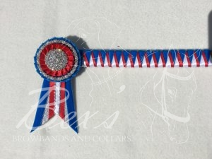 "3/4"" Ribbon Show Browband: Corn velvet, Red and White satin narrow double shark tooth. Pleated rosettes with Single/Pearl single row crystal ring and plain Silver centre. Swallowtail rosette tails"
