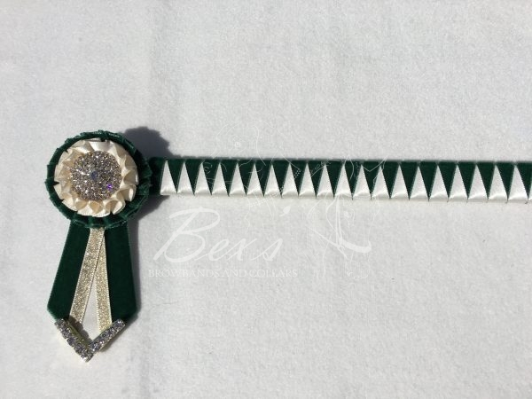 """3/4"""" Ribbon Show Browband: Bottle Green velvet and Cream satin narrow shark tooth. Pleated rosettes with plain Gold crystal centre. V Shaped tails with Gold crystal flag tips"""