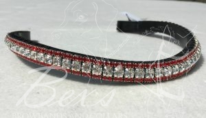 "Curved 1/2"" Preciosa Crystal Browband: Clear (Silver casing) 6mm and Light Siam 3mm."