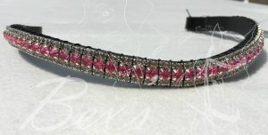 "Curved 1/2"" Preciosa Crystal Browband: Rose 6mm and Black Diamond 3mm."