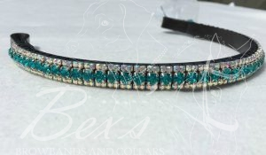 "Straight 1/2"" Preciosa Crystal Browband: Blue Zircon 6mm and Crystal AB 3mm."