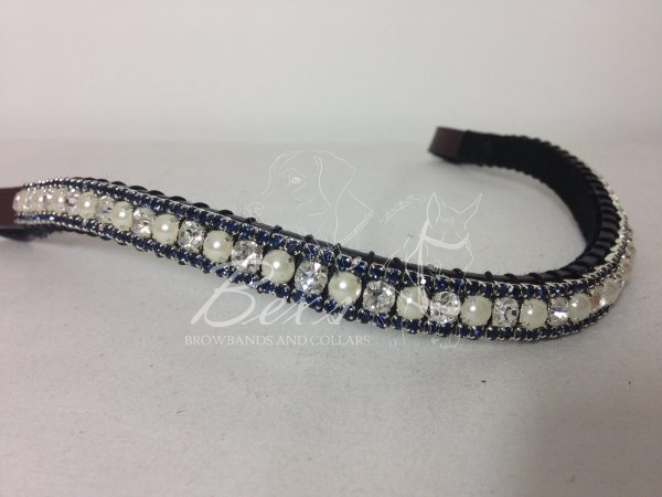"""Curved 1/2"""" Preciosa Crystal Browband: Clear/Pearl (Silver casing) 6mm and Montana 3mm."""
