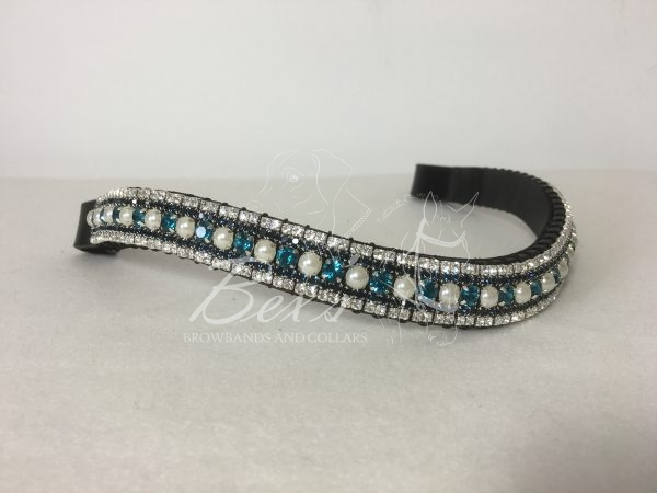 """Curved 3/4"""" Preciosa Crystal Browband: Indicolite/Pearl 6mm, Montana 3mm and Clear (Silver casing) 3mm."""