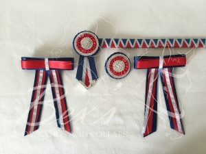"""3/4"""" Ribbon Show Browband: Navy and Red satin shark tooth with Silver metallic lame Zig Zag. Pleated rosettes with plain Silver double row crystal rings and centres. V shaped tails with Silver crystal flag tips. Shown here with a matching buttonhole and large double hair bows."""