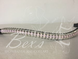 "Curved 1/2"" Preciosa Crystal Browband: Rose Opal 6mm, and Clear (Silver) 3mm."