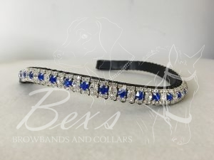 """Curved 1/2"""" Preciosa Crystal Browband: Sapphire/Clear 6mm and Clear (Silver casing) 3mm."""