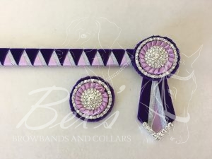 """3/4"""" Ribbon Show Browband: Purple velvet, Silver metallic lame and Light Orchid satin wide double shark tooth. Pleated rosettes with Silver crystal/pearl single row rings and plain Silver crystal centres. V shaped rosette tails with Silver crystal flag tips."""