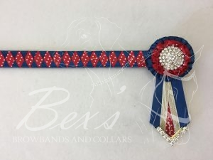 "3/4"" Ribbon Show Browband: Light Navy satin and Red/White polka dot satin wide diamond. Pleated rosettes with plain Gold crystal centres. V shaped rosette tails with Gold crystal flag tips."