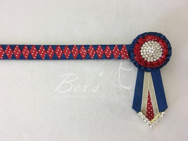 """3/4"""" Ribbon Show Browband: Light Navy satin and Red/White polka dot satin wide diamond. Pleated rosettes with plain Gold crystal centres. V shaped rosette tails with Gold crystal flag tips."""