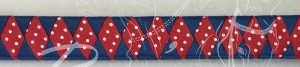 Light Navy satin and Red/White polka dot satin wide diamond