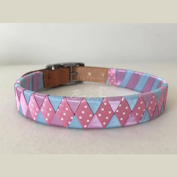 ribbon-covered-leather-dog-collars