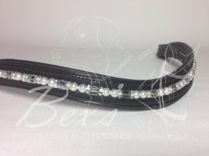 Pearl and Cube Beaded Browband: White pearls, Clear Swarovski cubes and Silver straight rhinestone spacers