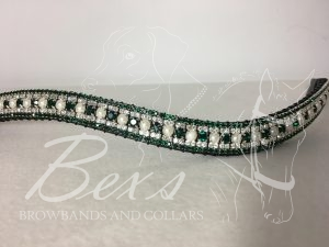 "Curved 3/4"" Preciosa Crystal Browband: Light Emerald/Pearl 6mm, Clear (Silver casing) 3mm and Emerald 3mm."