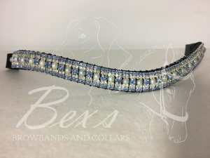 "Curved 3/4"" Preciosa Crystal Browband: Light Sapphire/Pearl 6mm, Clear (Silver casing) 3mm and Light Sapphire 3mm."