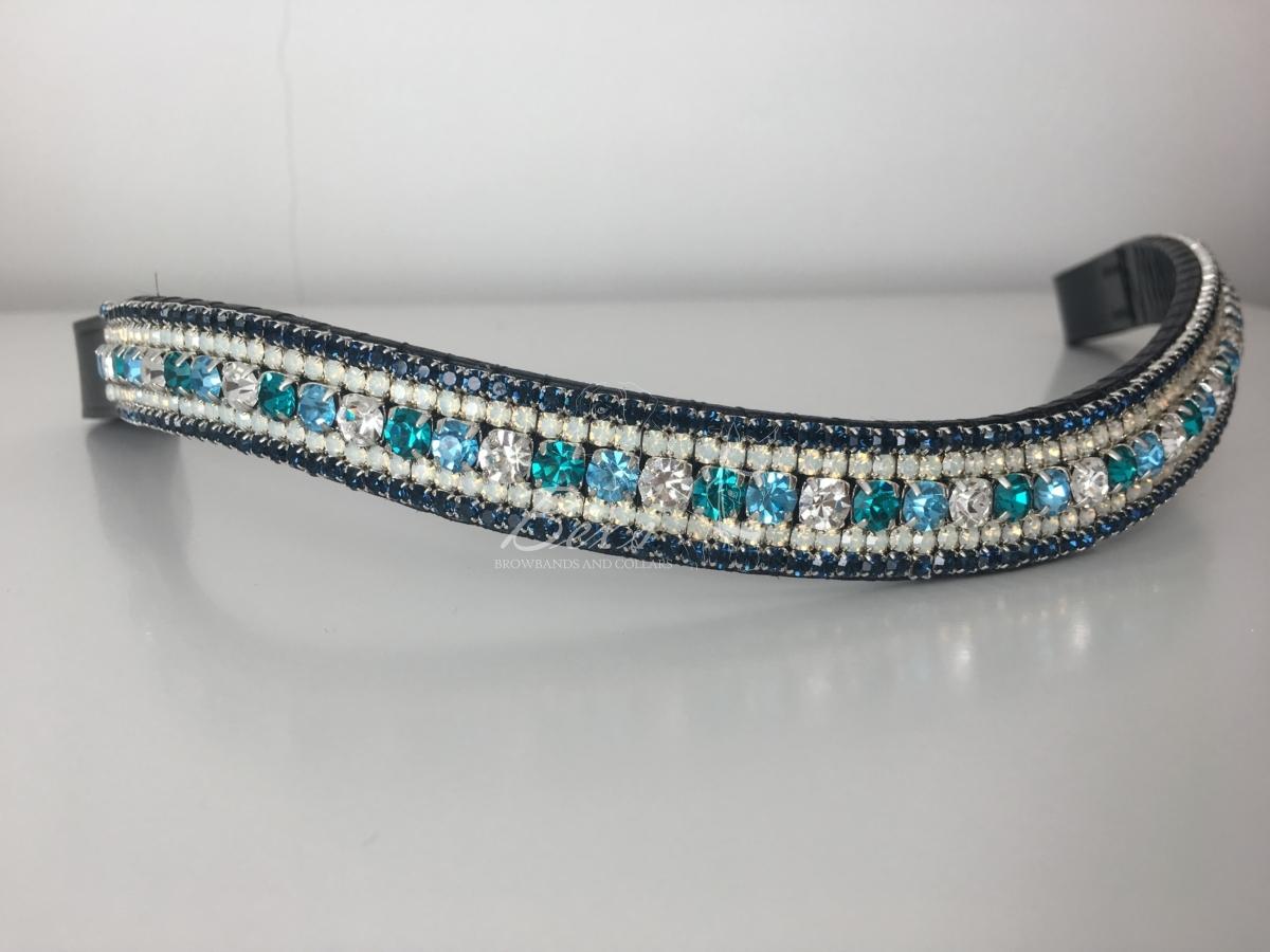 Preciosa Crystal Browband – Crystal, Aqua Bohemica, Blue Zircon, Opal and  Montana