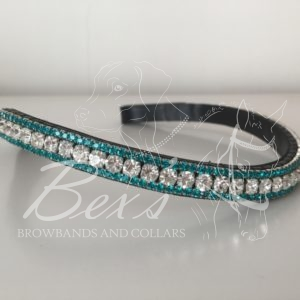 Crystal 6mm, Blue Zircon 3mm. Curved shape
