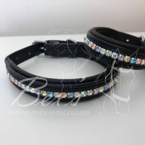 'Unicorn' Pastel Rainbow Preciosa crystal dog collars