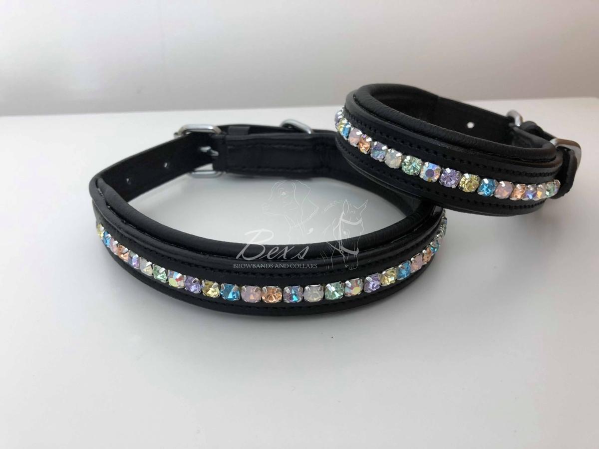 'Unicorn' Pastel Rainbow Preciosa crystal dog collars