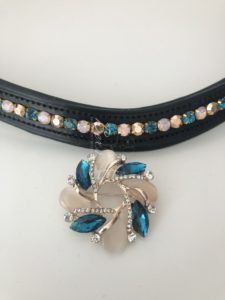 Preciosa Crystal Channelled Browband - Indicolite, Rose Opal and Capri Gold