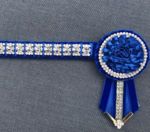 Diamante Show Browband - Royal Blue and Gold
