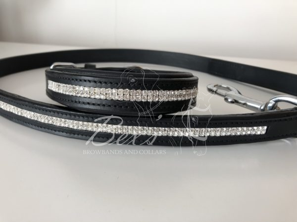 Dog Collar and Matching lead using two rows of Clear Crystal Preciosa crystals