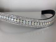White Opal 6mm, x2 Crystal 3mm. Curved shape
