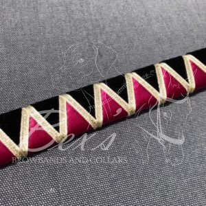 Wide shark tooth zig zag: Black velvet top tooth, Wine satin bottom tooth and Gold lame zig zag