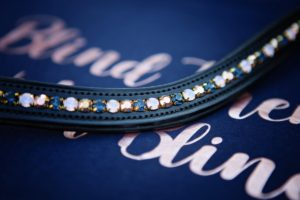 Preciosa Crystal Channelled Browband - Montana, Rose Opal and Capri Gold