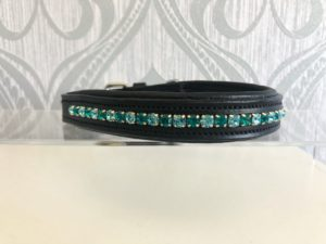 "14-17"" Black leather - Turquoise Preciosa Crystal Dog Collar"