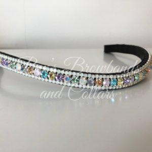 "1/2"" Preciosa crystal curved browband - Pastel Rainbow Unicorn 6mm, White Opal 3mm"