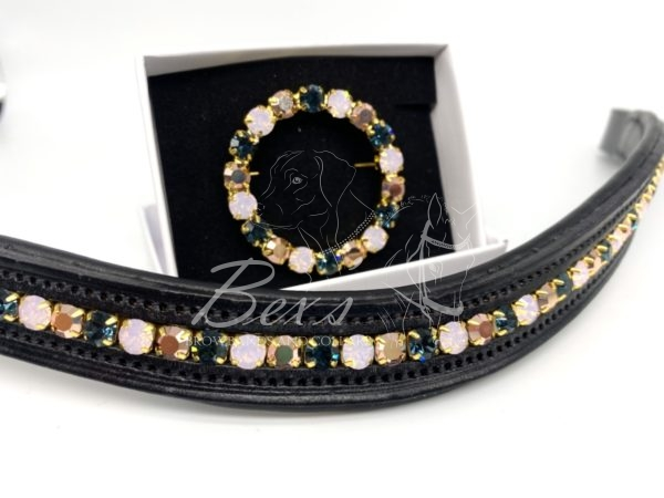 Montana, Rose Opal and Capri Gold Preciosa Crystal (Gold setting) channel browband and matching circular wreath stock pin